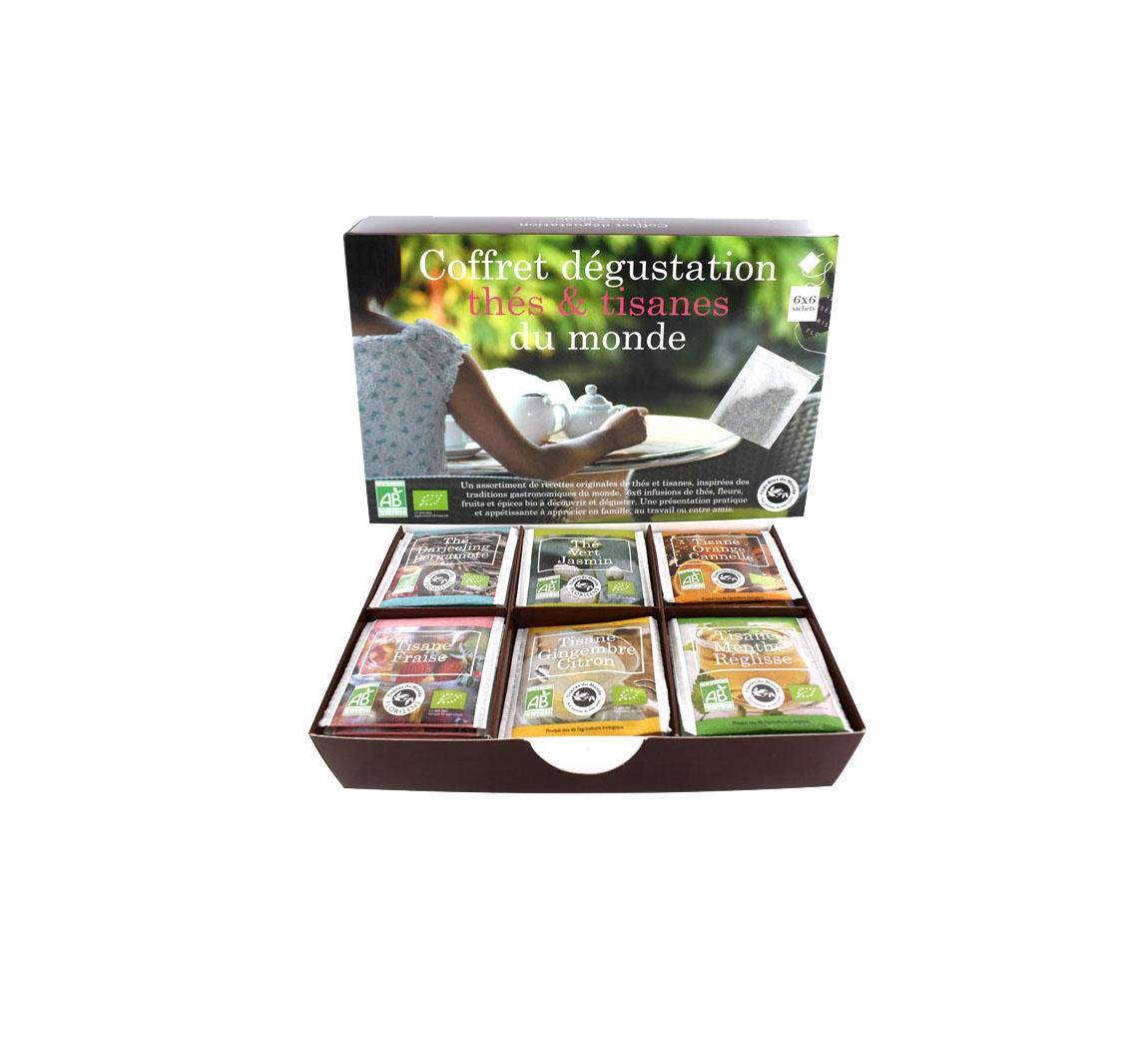 Coffret thés du monde bio Coffret dégustation de thés du monde Bio