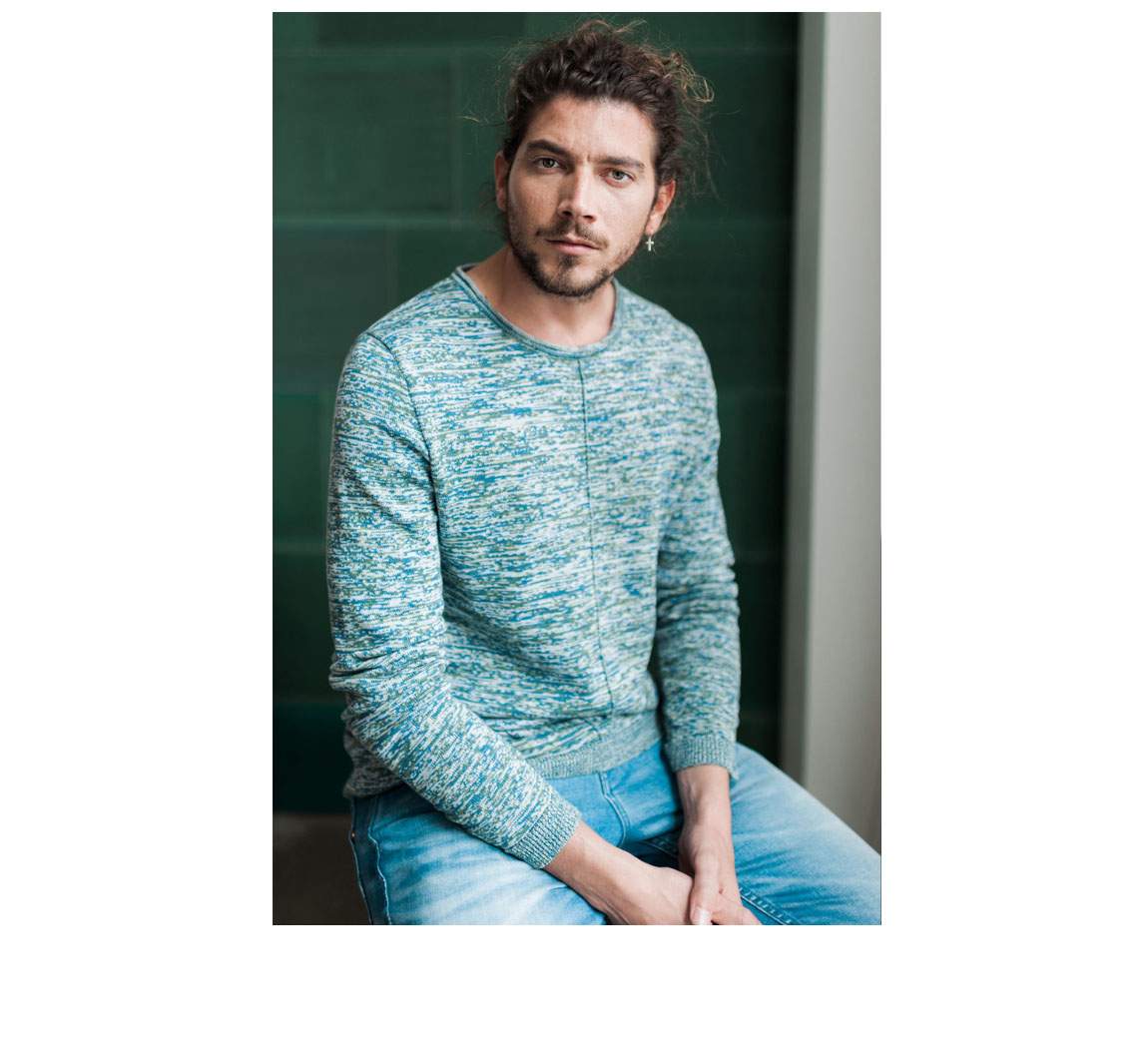 Pull homme en coton organique Pull Alby Cotton Knit Rainbow