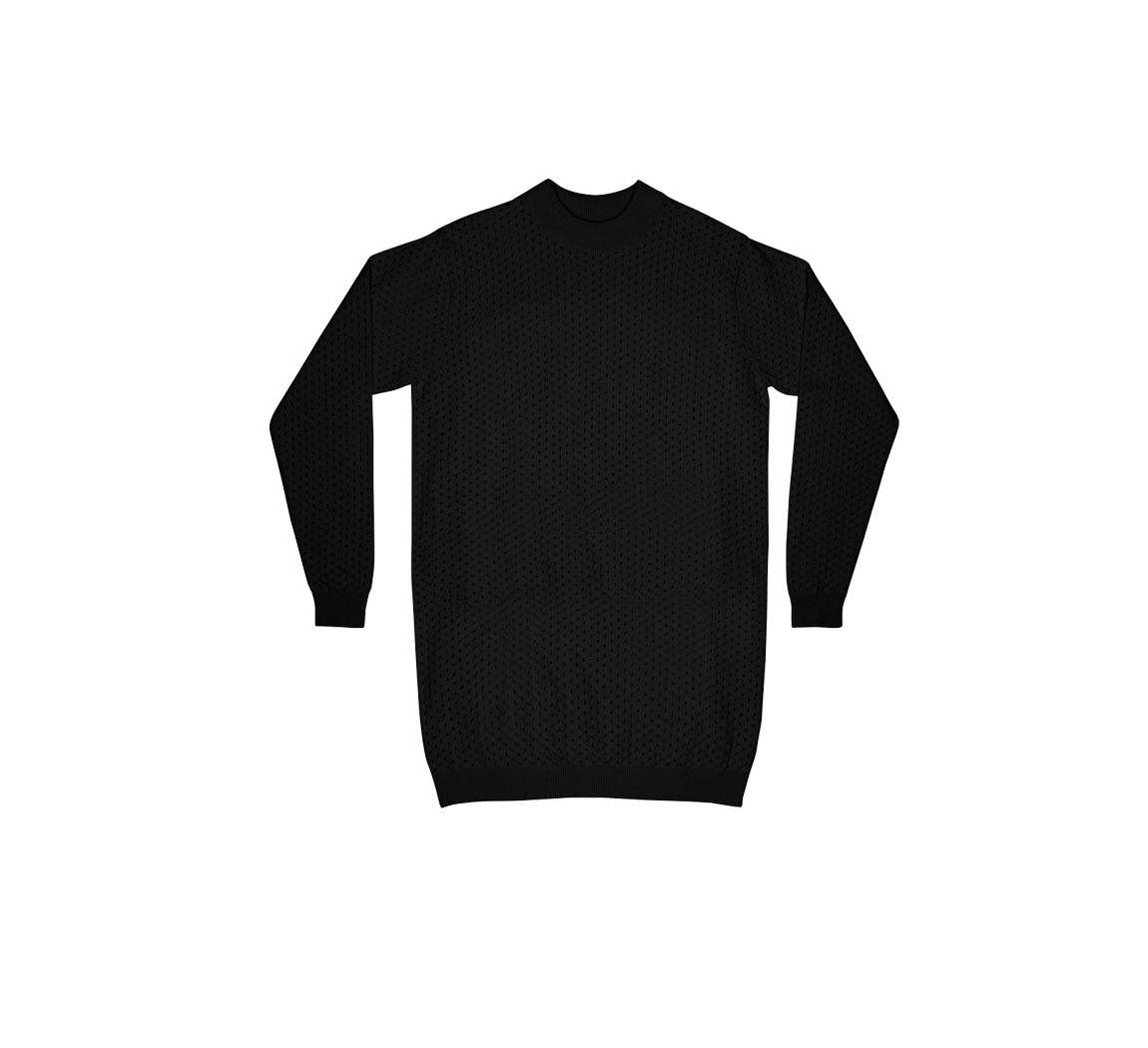 Robe noire manches longues Dress Fyn Mesh