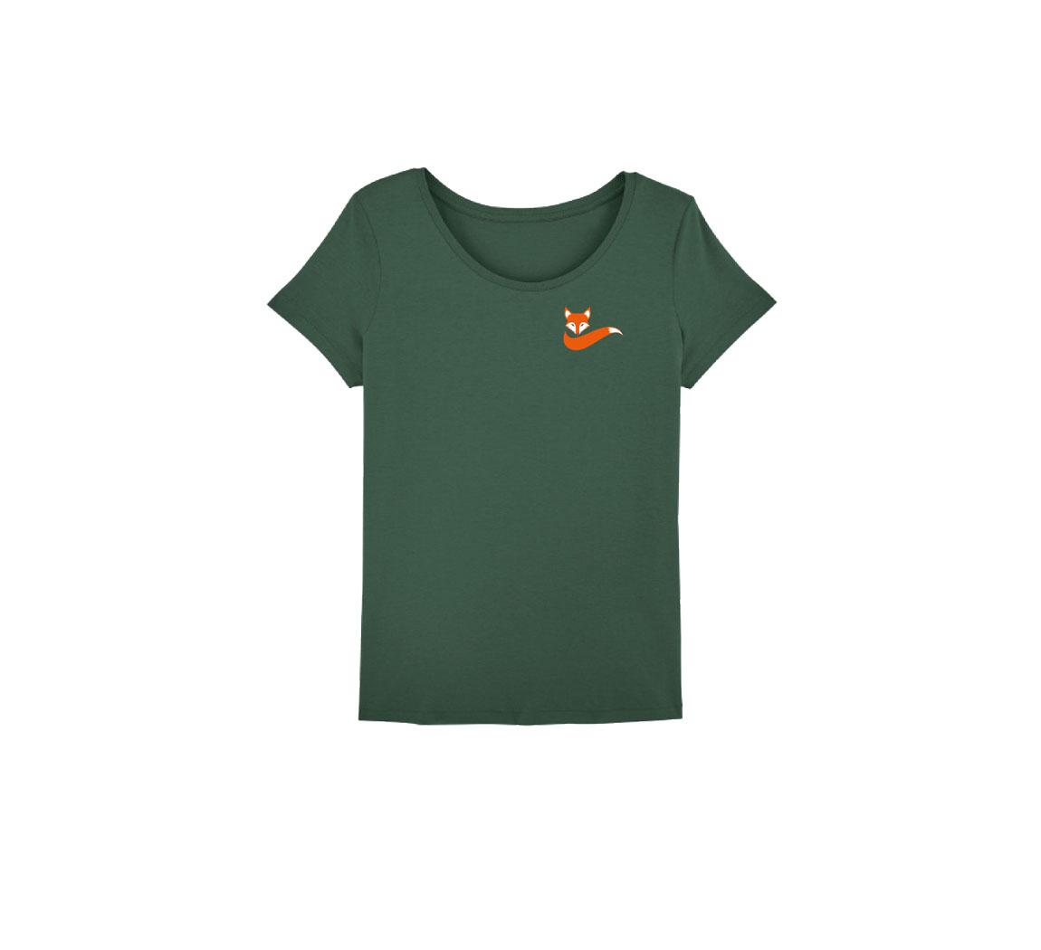 T shirt femme vert T shirt renard