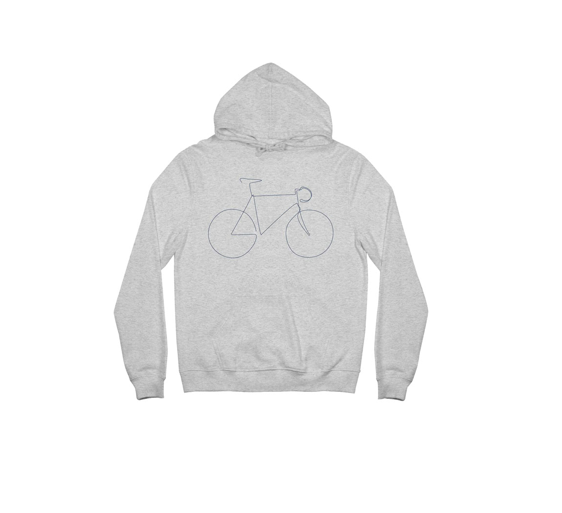 Sweat à capuche velo gris Hoodie Falun Bicycle
