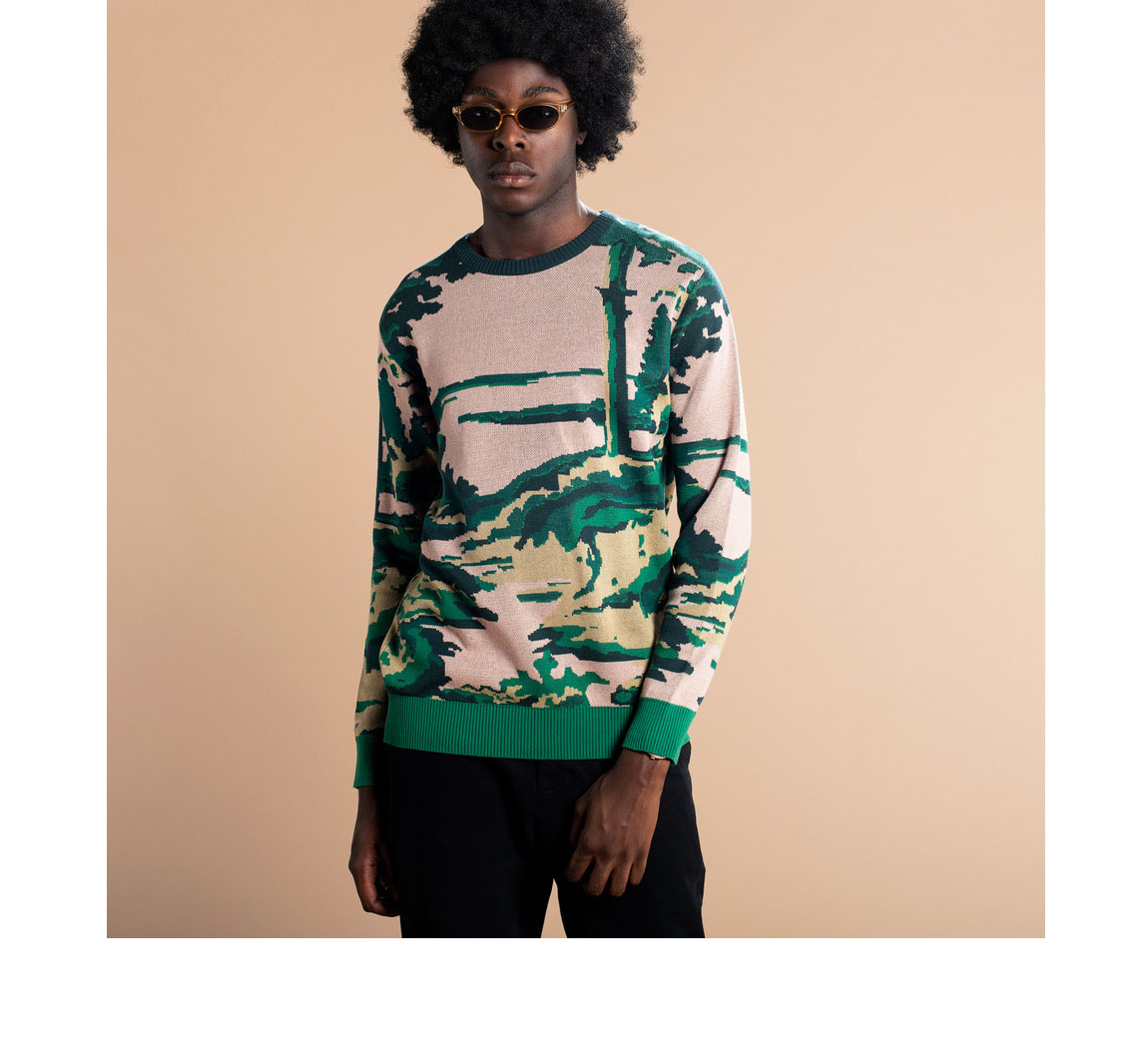 Pull homme fantaisie en coton organique Sweater Mora Deep Forest